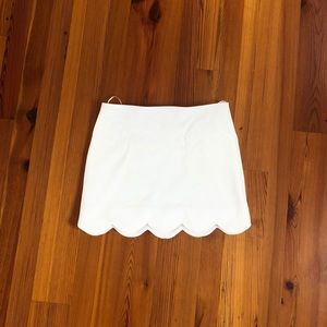 White Scalloped Mini Skirt